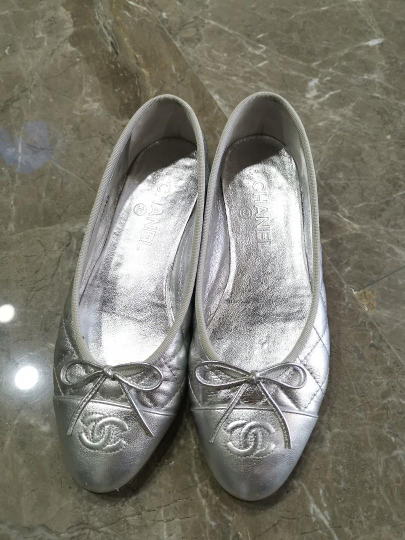 Silver Chanel Flats, Women's Fashion