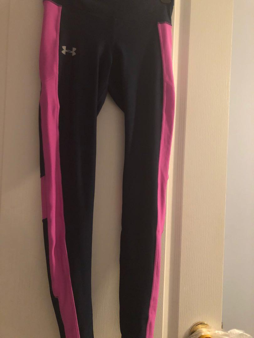 Size S Under Armour Colour Block Leggings Navy and Pink