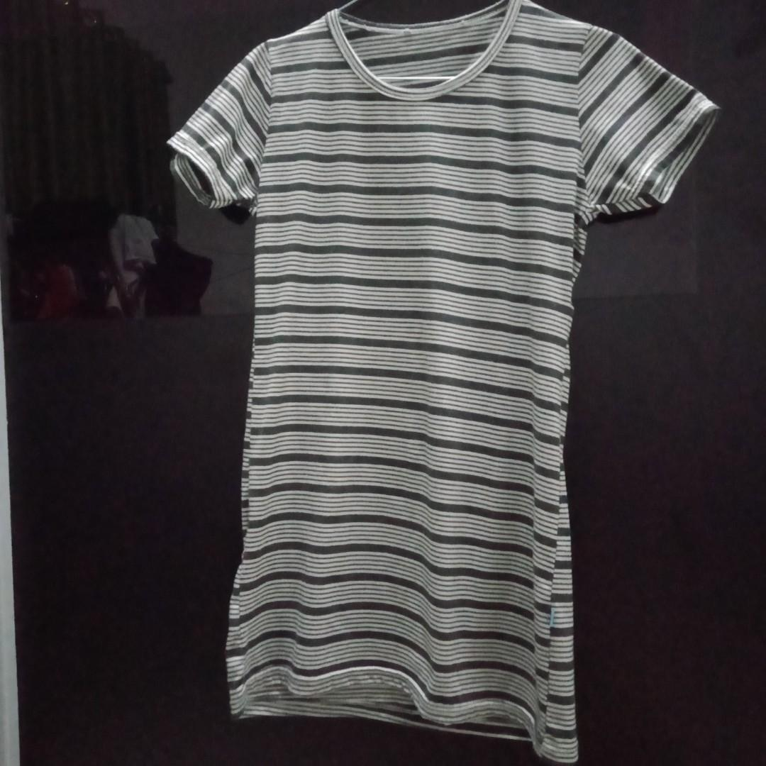 Stripe Dress abu-abu