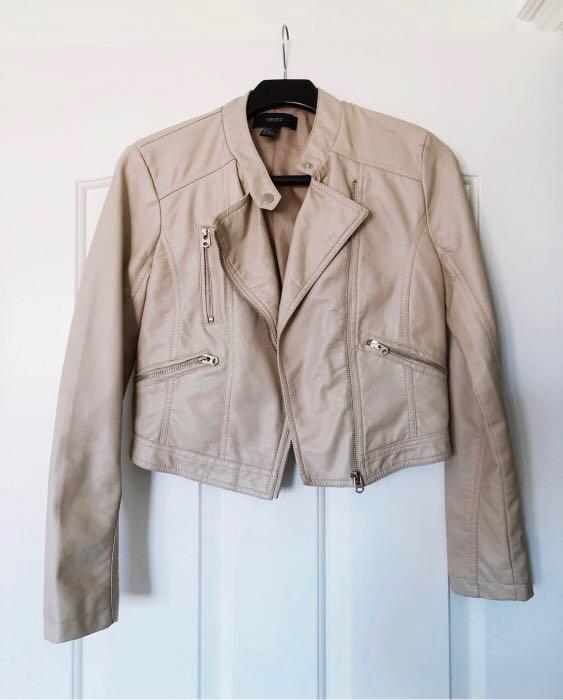 Tan Moto Jacket (Faux Leather) Size S
