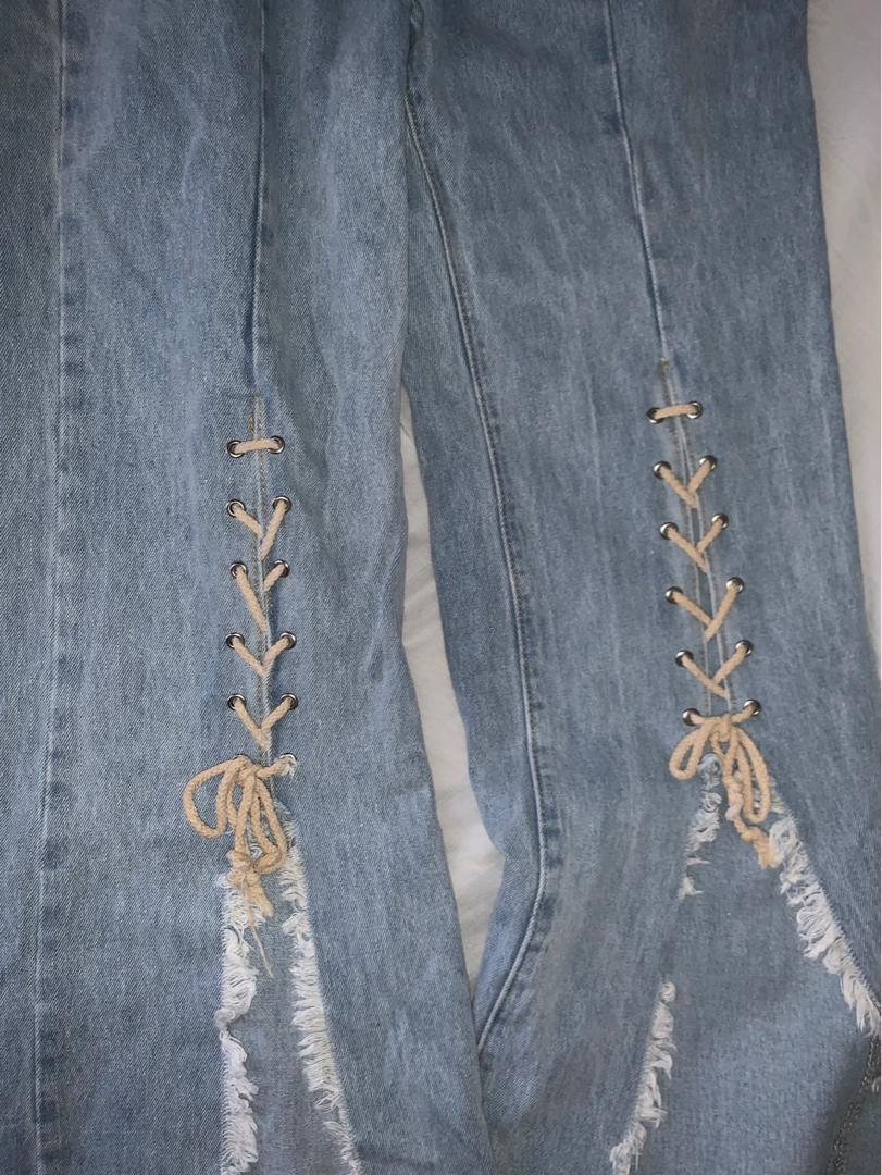 Tigermist Lace Front Flared Jeans