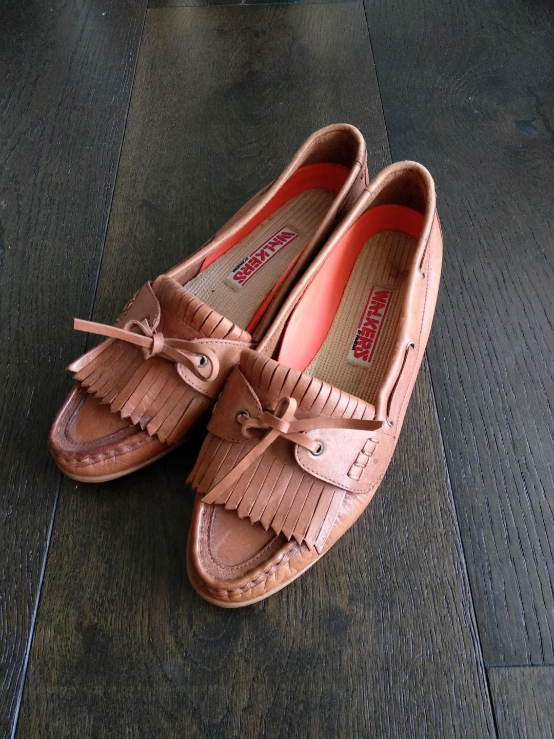 Vintage retro brown leather tassels loafers slip on EU 39