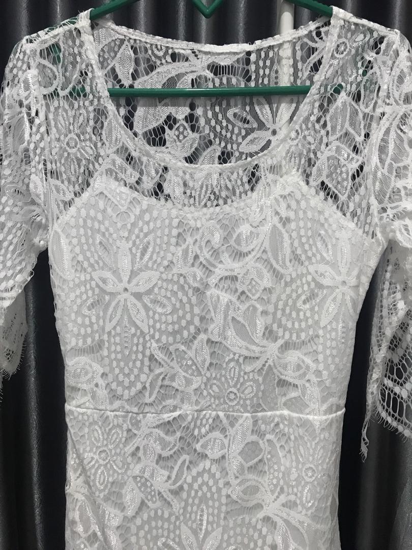 NETT White Openback Lace Dress