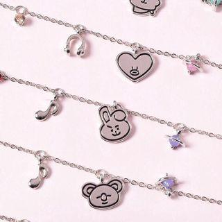 🚚 KPOP BTS BT21 ARMY Cartoon Wrist Bracelet Hand Chain Silver