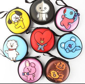 KPOP BTS BT21 Cartoon Earphone Case Headsets PU Case Data Cable Coin Pouch