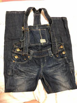 女牛仔吊帶褲 可穿到160公分55公斤以內 褲況好未損壞