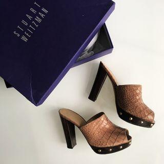 $260  Stuart Weitzman Women's Brown Croc-embossed Leather Mule Sandals size 36 / 6