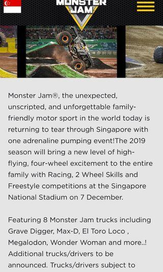 🚚 Dec 7, 2019 Monster Jam in Singapore 🇸🇬