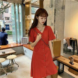 Korean V Cut Button Down Dress (Free Mailing)