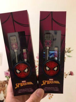 全新正版蜘蛛人iphone充電線