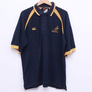 Size L CANTERBURY Wallabies Shirt in Navy Pit 25