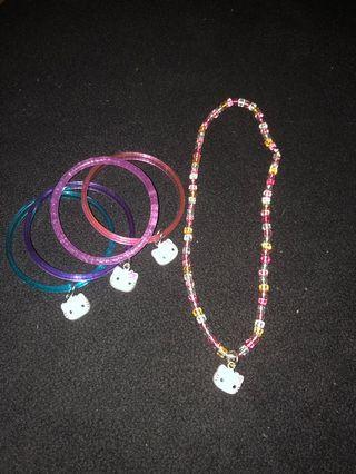 Hello kitty necklace and bangle bracelets