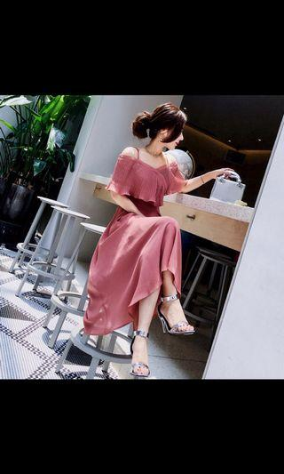 Romantic Dry Rose Color Off shoulder Vacation Dress