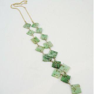 Vintage 14K gold and natural Jade carved tile necklace