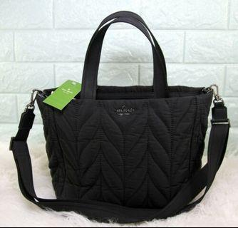 Kate Spade Ellie Small Tote Nylon Quilted Satchel Bag-BLACK