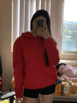red oversized hoodie