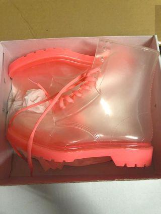 Vintage style clear pink gum boots