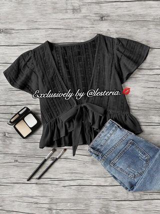 Freya Tie Front Blouse (Black)