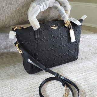 (Instock soon!) Coach Small Kelsey in Black Embossed Calf Leather