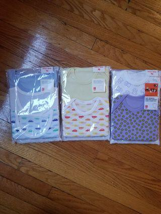 Uniqlo bodysuits onesies tshirts size 6mths to 24mths. Brand new. Never opened. Gifted but completely forgot about it. All sized 6 to 24mths Purple package contains 2 onesies $7 Yellow package contains 2 onesies $5 Blue package contains 3 t-shirts $8