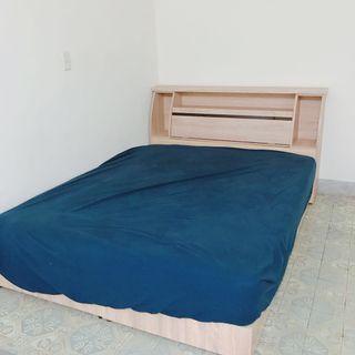 獨立雙人桶床墊(含床板*2+床頭櫃)