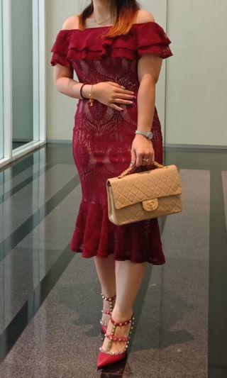 Off Shoulder Lace Maroon Dress