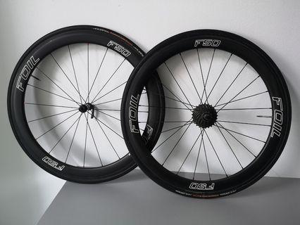 50mm FOIL carbon wheelset with DTSwiss 350 hub, incl cassette&tubulars