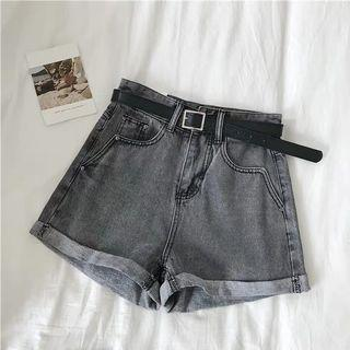 灰色捲邊牛仔短褲(附皮帶)