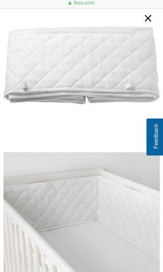 Ikea bumper pad Himmelsk white grey stars