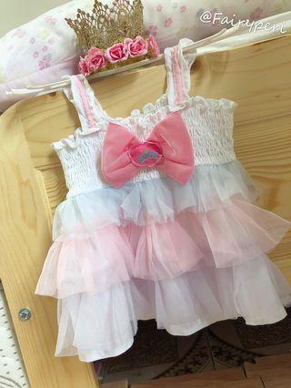 麗嬰房粉嫩紗裙蝴蝶結🎀上衣洋裝❤️1-2y