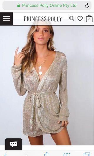 BNWT Princess Polly gold wrap dress