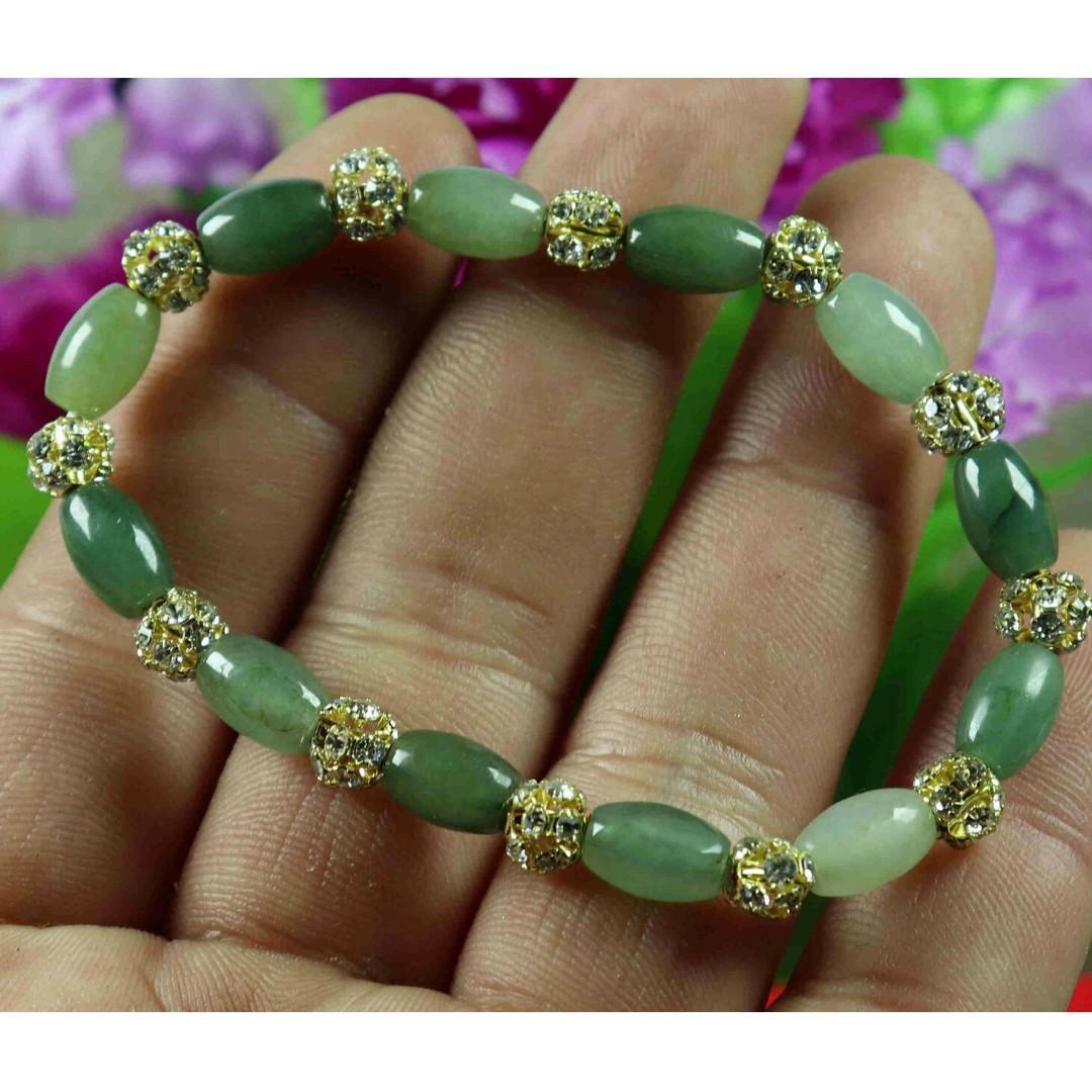 10*6*6mm Bead Cert'd Vivid Green 100% Natural A Jade Jadeite Bracelet