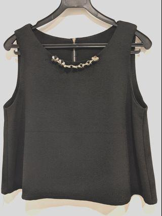 Black tent top with embellishment