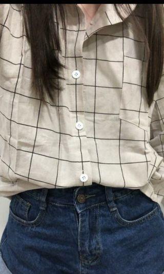 甜美 學院風 領子 長袖 格紋 襯衫(杏色)