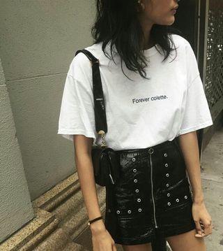 🚚 Pull & Bear Eyelet Vinyl Skirt