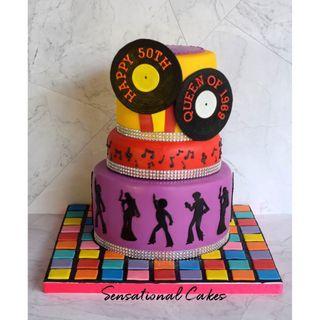 Disco retro colorful dance musical 3d customized cake #singaporecake