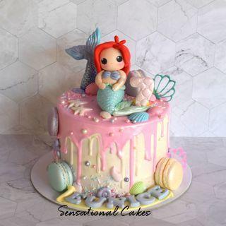 Cute Kawaii Mermaid drip pastel under the sea 3d customized cake #singaporecake