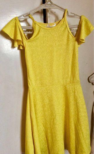 Canary Cold Shoulder Summer Dress