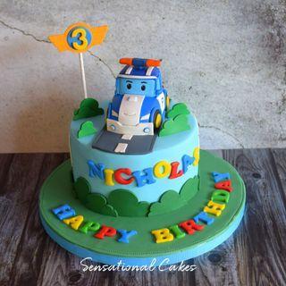 Robo Car Poli 3d children boy theme 3d customized cake #singaporecake