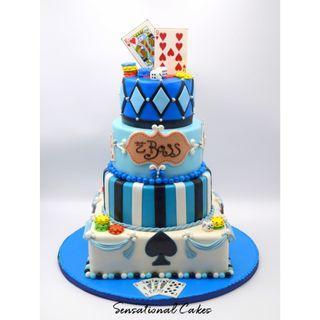Boss casino 3d giant cake with token, dice and cards man design 3d customized cake #singaporecake