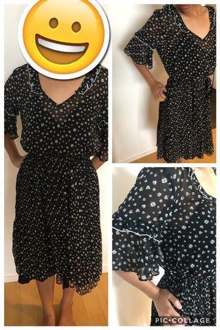 H&M black floral dress