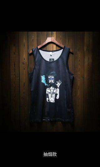 2pieces 500潮流嘻哈運動衣籃球衣緊身衣運動背心男上衣男裝