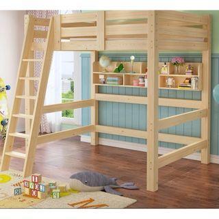 高架床 實木床 組合床 單人床 3尺床 書架 松木床 碌架床 租房 劏房 公屋 居屋 私樓 190604tr06