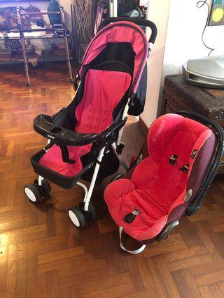 🚚 pink Stroller and free car seat