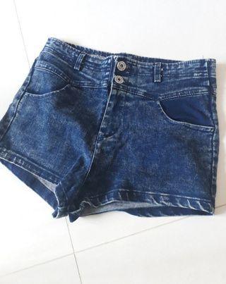 High Waist Acid Wash Button Up Denim Shorts