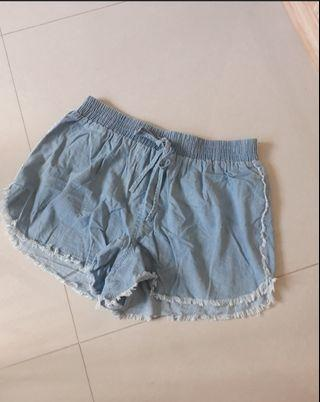 Distressed Hem Light Blue Denim Shorts