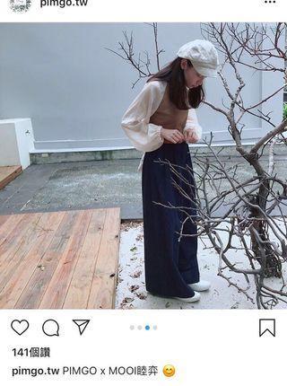 🚚 Pimgo 異拼袖接紗短版上衣 韓