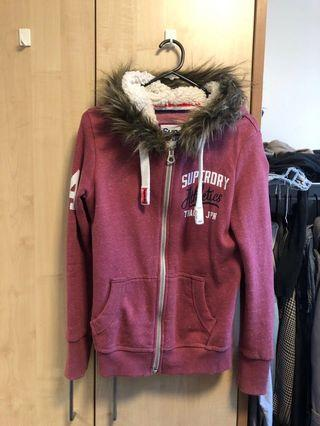 Superdry pink zip up hoodie