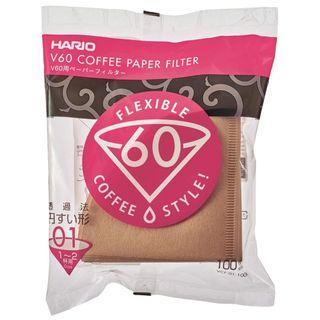 🌟[ 現貨] HARIO V60 01 非漂白 Coffee Filter Paper 咖啡濾紙 100 張 (1-2杯用 )