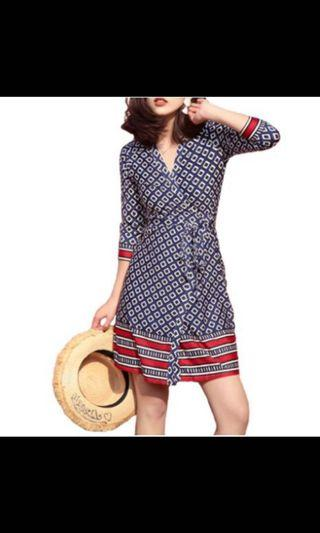 🚚 Geometric print ladies fashion wrap dress 👗 sale #juneholiday30